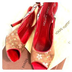 Louis Vuitton monogram cherry heels